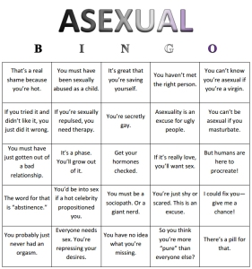 Asexual Bingo card