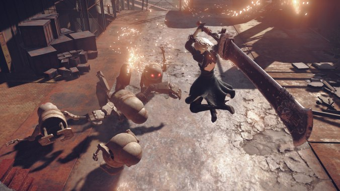 Action shot of 2B fighting a group of machines in NieR: Automata.